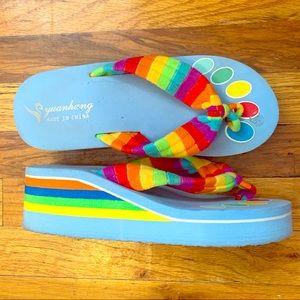 🌈💙Baby blue & rainbow platform sandals